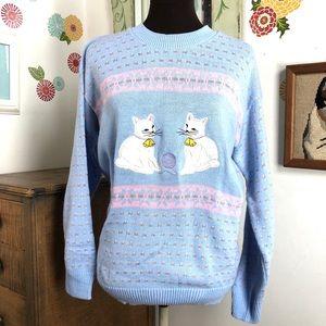 Vintage Cat Sweater Pastel Blue Metallic Kittens M